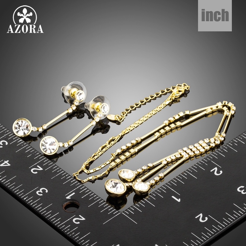 AZORA Gold Color Jewelry Set for Women Water Drop Necklace & Pendant Drop Earrin image 3