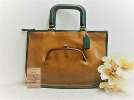 Vintage Coach Watermelon Tote Unique Tan/Green Leather - NYC 1980s - Sty... - $217.79