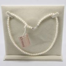 18K WHITE GOLD & 925 SILVER NECKLACE PEARLS 4.5 5 MM BEAUTIFUL BOX MADE IN ITALY image 3