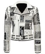 Woman handmade rock punk silver studded leather jacket rocky day damen jacket thumbtall