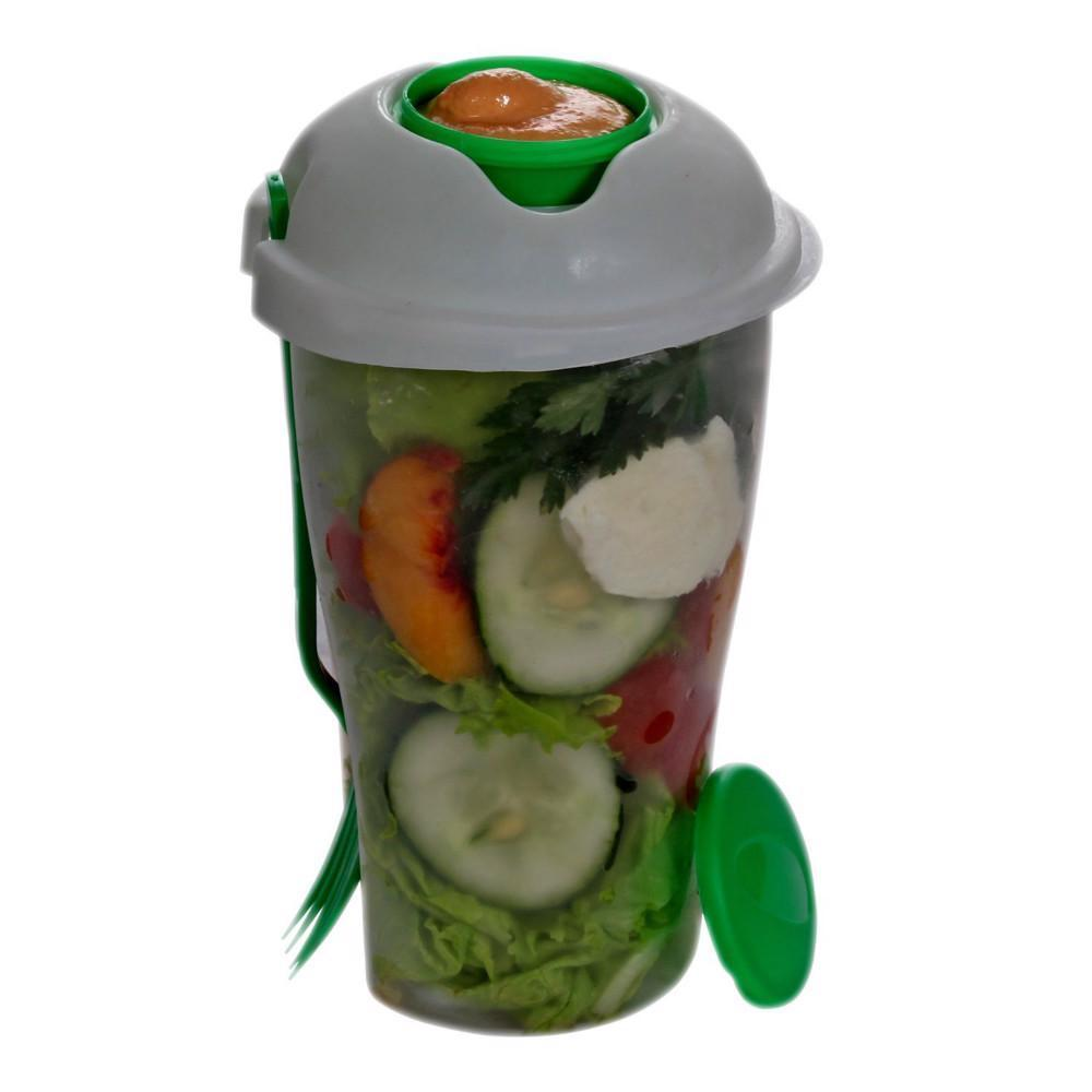 Fresh Salad Container & Dressing Container Fork Lunch Serving Cup Food Storage