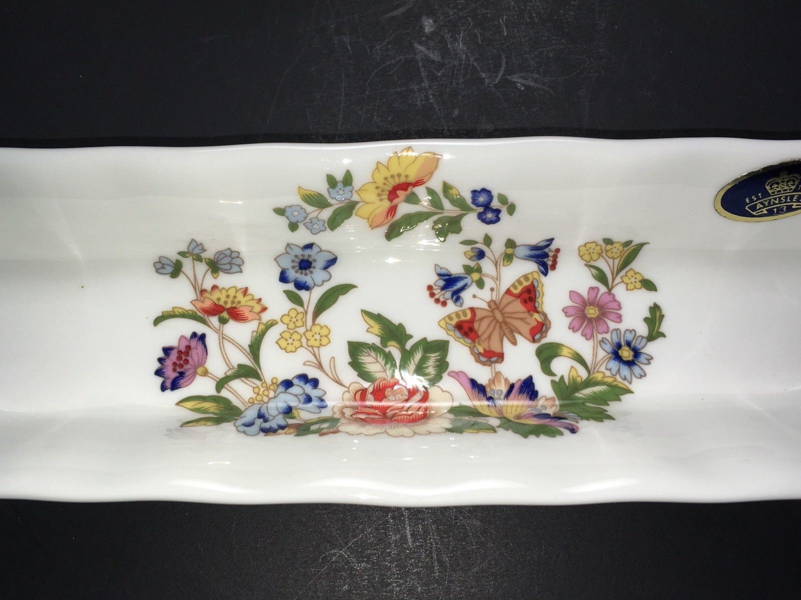 "VTG Aynsley Butterfly ""Cottage Garden"" Pattern Mint/Pen China Tray Dish England"