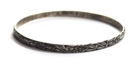 Sterling Silver Danecraft Scroll Leaf Flower Large Bangle 4mm Bracelet  ... - $29.69