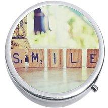 Smile Scrabble Tiles Medicine Vitamin Compact Pill Box - $9.78