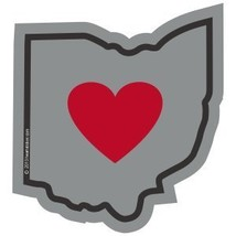 Heart in Ohio Sticker | OH Heartland State Shaped Label | Apply to Phone Laptop