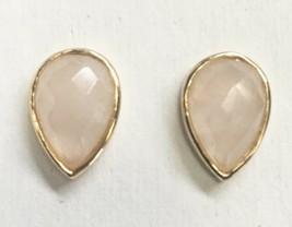 Daniela Swaebe 18K Gold-Plated Faceted Rose Quartz Drop Pear Shape Post Earrings