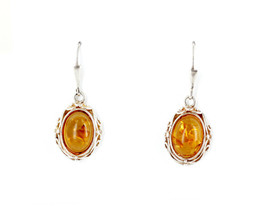 Vintage Sterling Silver Baltic Honey Amber Organic Wire Setting Dangle E... - $58.49