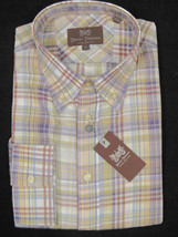 NEW! $165 Hickey Freeman Crisp Oxford Shirt! XL *Colorful Plaid*  *Light Weight* - $69.99