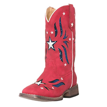 Children Western Kids Cowboy Boot | Star Glitter Red Americana Flag for ... - $99.23