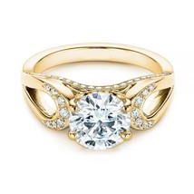 14K Yellow Gold Plated Sterling Silver 2/3Ct Round Cut Diamond Engagemen... - $84.99