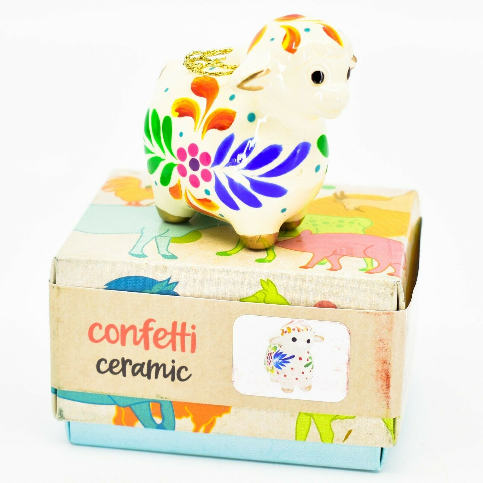 Handcrafted Painted Ceramic Sheep Lamb Confetti Series Ornament Made in Peru