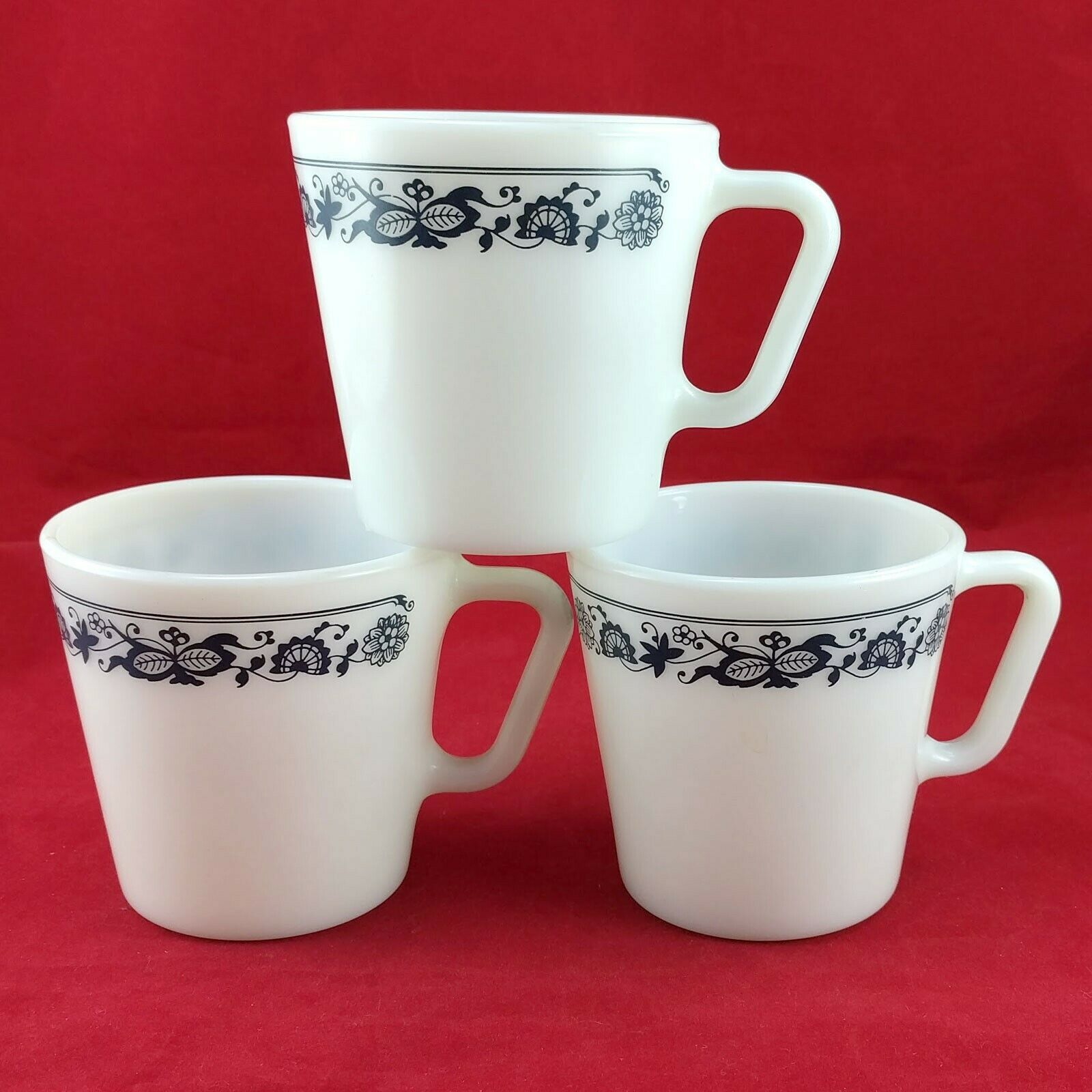 Pyrex 1410 Coffee Cups Vintage Old Town Blue ~ Set of 3 ~ Made in the USA