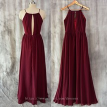 Spaghetti Straps Burgundy Bridesmaid Dress,A line Chiffon Burgundy Prom Dress - $150.00