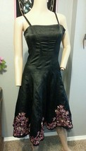 Betsey Johnson Evening Black Floral Embroidered Silk Mesh Goth Party Dre... - $1.634,83 MXN