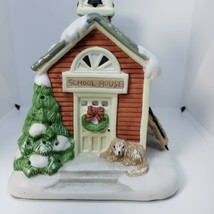 Partylite Winter Christmas Schoolhouse Tealight Holder Ceramic - $18.50