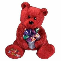 Happy Birthday the Shimmering Red Bear with Gift Ty Beanie Baby MWMT Ret... - $12.82