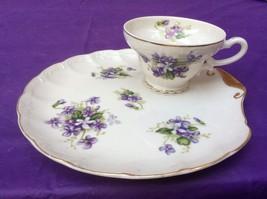 """Vintage 1960's Porcelain Snack Set Cup & 8"""" Sandwich Plate Violet Patter... - $11.30"""