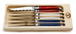 Laguiole DE TABLE SET/6 stake Knives WOOD BLOCK MADE IN FRANCE MULTI COLOR NEW - $119.30