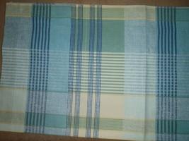 Vintage Liz Claiborne Blue Green Plaid Window Valance 18 x 80 Inches - $13.99