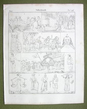 PEOPLE of India Burning Tim Java Island Malay Peru Savage - 1825 Antique... - $8.55