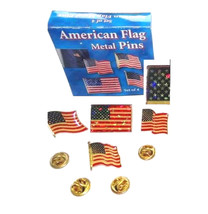 pack of 4 different design stars and stripes, usa flag pin badge/ lapel badge wi