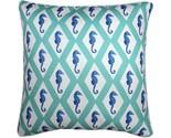 Pillow Decor - Capri Turquoise Argyle Seahorse Throw Pillow 26x26