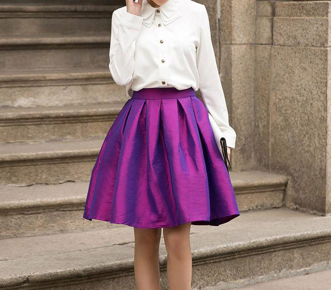 Purple A Line Knee Length Ruffle Party Skirt Women Taffeta Party Pleated Skirt