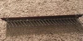 Vintage Electie Wood W/ Metal Wire Tie Rack Holder Hanger Organizer Double Long - $24.99