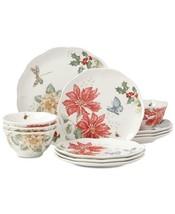 Lenox Butterfly Meadow Holiday 12 Piece Dinnerware Set Poinsettias & Jasmine - $146.68