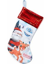 RUDOLPH THE RED NOSE REINDEER JERSEY STOCKING WITH SPARKLY CUFF NEW - $5.95