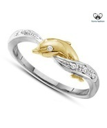 Round Cut Diamond Dolphin Engagement Ring White Gold Plated 925 Sterling... - $1.478,81 MXN