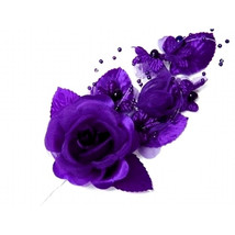 "3 purple Silk Pearl & organza flower  Corsages 5""x 2.5 with pearl pin - $6.68"