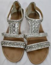 Davids Bridal Silver Embellished Sandals Size 11 Prom Wedding Roman Style - $22.76