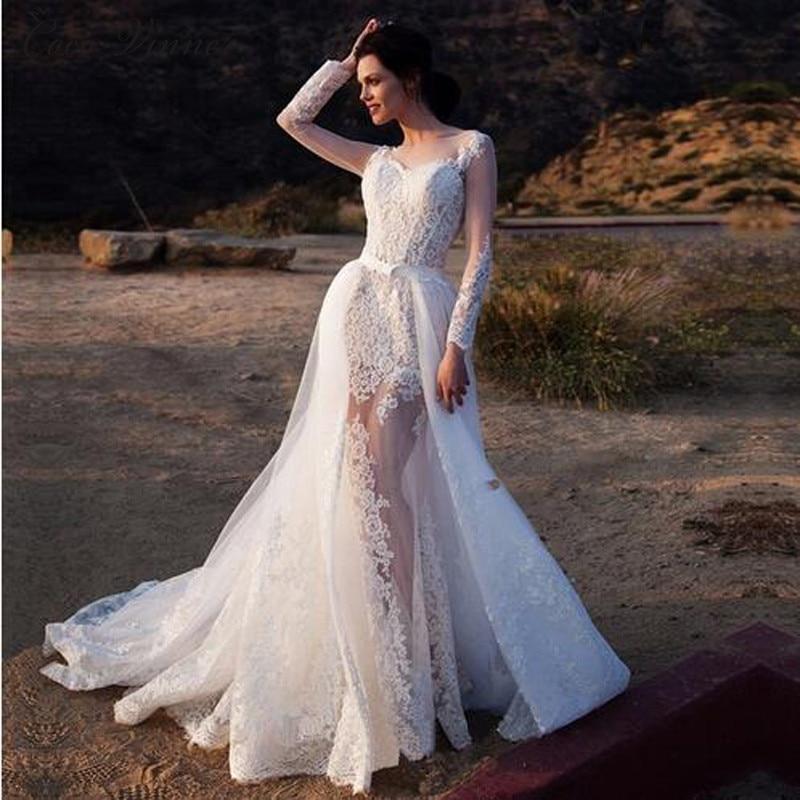 N 1 long sleeve illusion sexy mermaid wedding dresses with detachable train fashion europe style