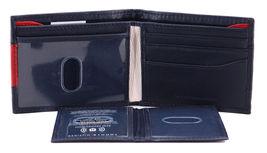 Tommy Hilfiger Men's Premium Leather Double Billfold Passcase Rfid Wallet Navy image 7