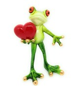 Tree Frog Red Puffed Heart Figurine Orange Eyes Standing New GSC 61232 - $15.47