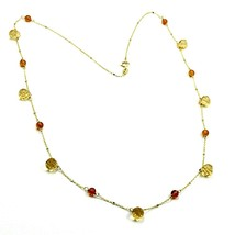 """18K YELLOW WHITE GOLD 20"""" 50cm NECKLACE CITRINE FACETED DROPS, AMBER, ROLO CHAIN image 1"""
