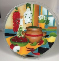 Peggy Karr fused glass serving platter tex mex vegetable plate chili pep... - $191.96