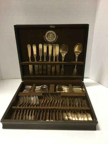 49 Piece Horchow Collection Bronze Flatware Set in Wood Case Neiman Marcus