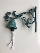 Hanging Cast Iron Green Black Dinner BELL Wall Mount Rustic Vintage Antique - $19.50