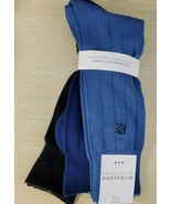 Blue Multi 3Pairs Designer Mens Perry Ellis Portfolio Macy's Dress Socks  - $19.64