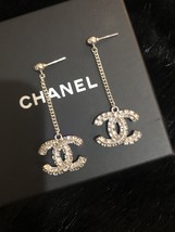 SALE* AUTH CHANEL 2019 LARGE CC LOGO Crystal Dangle Drop SILVER Earrings image 8