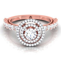 Solid 14k Rose Gold Wedding Ring Halo Ring White Diamond Valentine Gift ... - $519.99