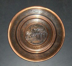 Judaica Israel Vintage Red Copper Plate Tray Jerusalem Old City 1960's Wall Hang