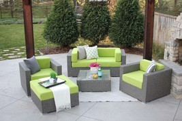6 Piece Gray Wicker Outdoor Sectional Patio Set Hubbard New - £852.57 GBP