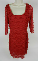 Guess 10 Womens Dress Red 3/4 Scalloped Lace Tiers V-Neck Back Party - $49.49