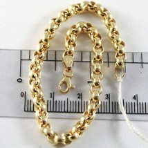 18K YELLOW GOLD BRACELET 7.5 IN, BIG ROUND CIRCLE ROLO LINK, 4 MM MADE I... - $690.00
