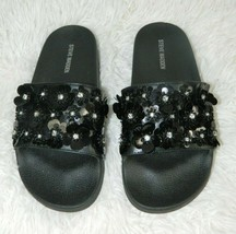Steve Madden Women's Black Flower Sequin Slide Sandal Size 9 - $23.19