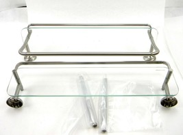 Delta 4 In. Rectangle Double Glass Shelf With Towel Bar Rack In Brushed ... - $28.41