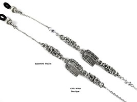 Silver Garden Gate Eyeglasses Chain Necklace Flowers Byzantine Maille Je... - $29.00+